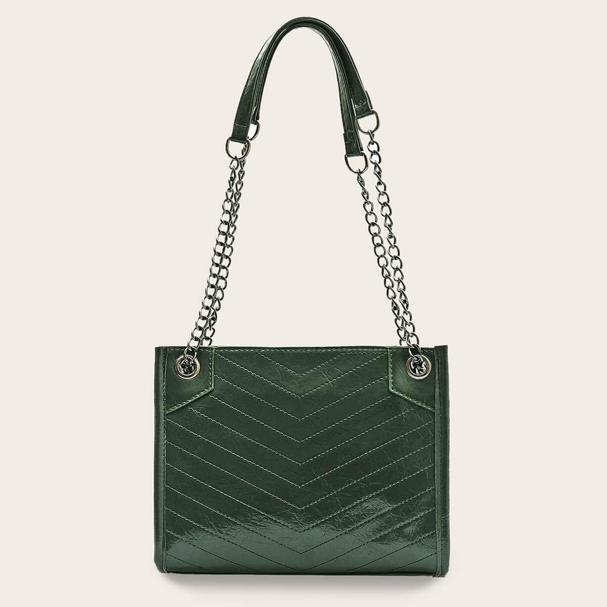зелёный Шеврон Деловый стиль  Сумочка с от SHEIN