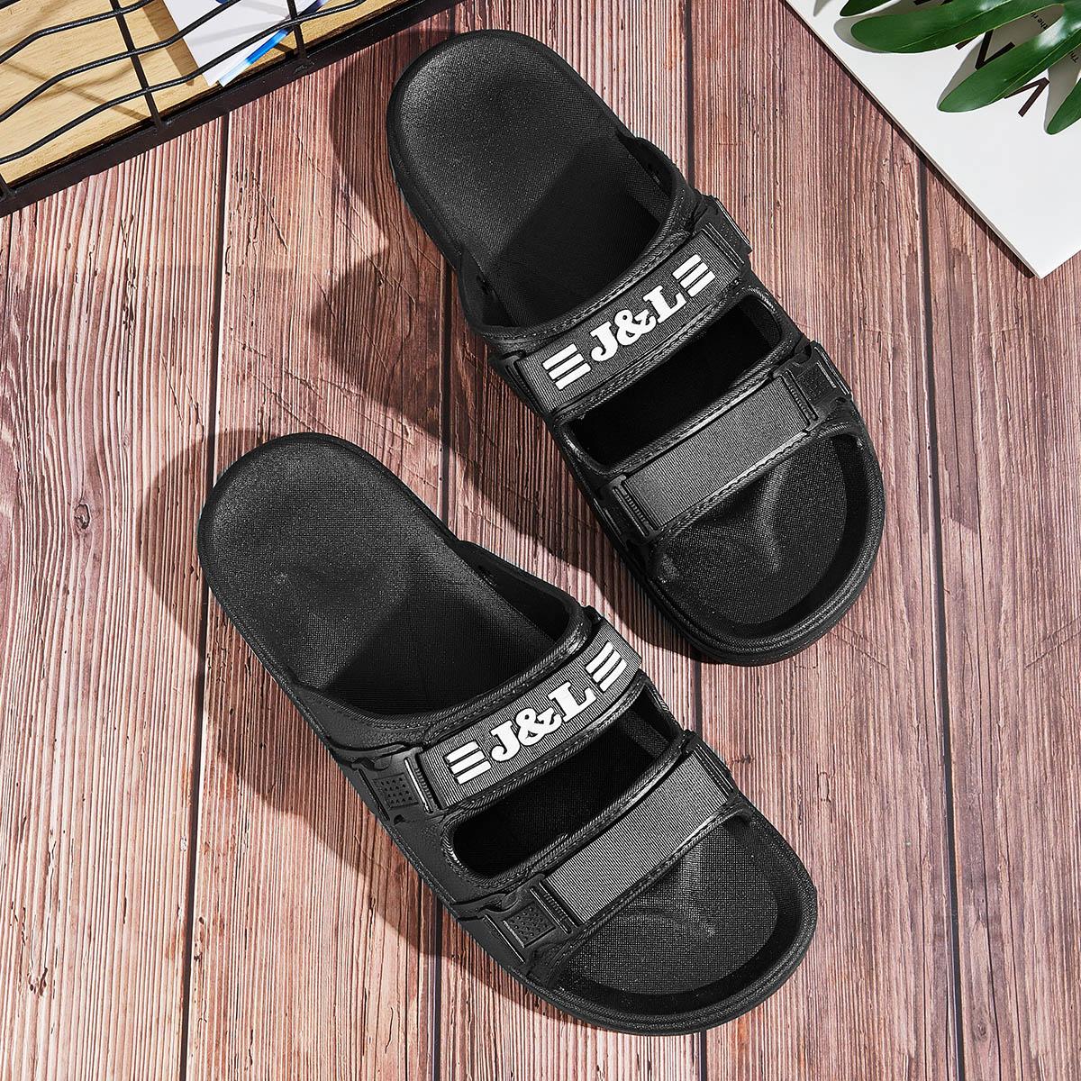 Zwart Comfortabel Tekst Sandalen mannen