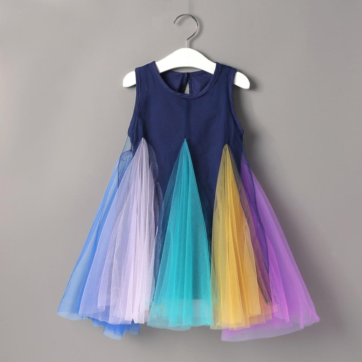 SHEIN / Toddler Girls Colorful Mesh Godet Panel A-line Dress