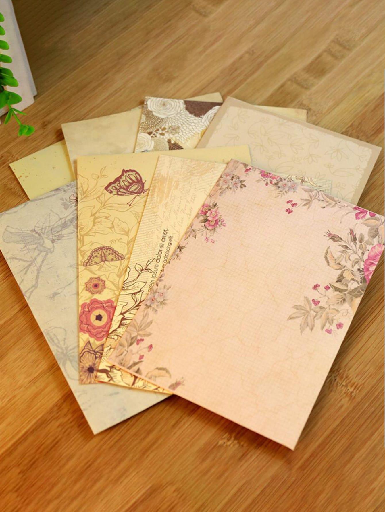 10sheets Aleatório Floral Romântico Envelope de Impressão