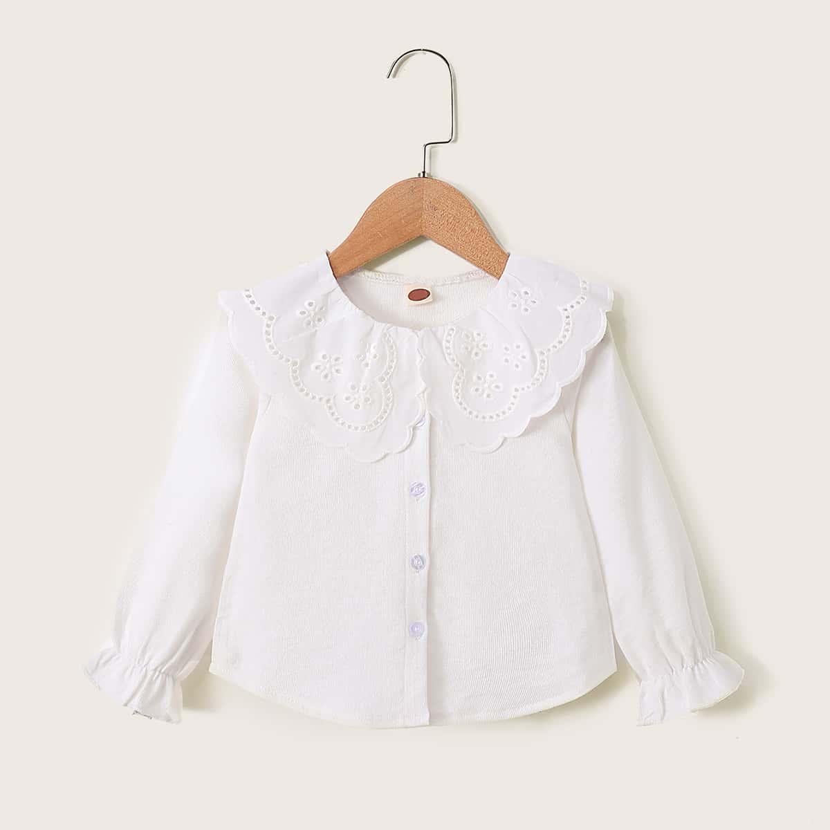 Блуза с пуговицами и вышивкой для девочек от SHEIN
