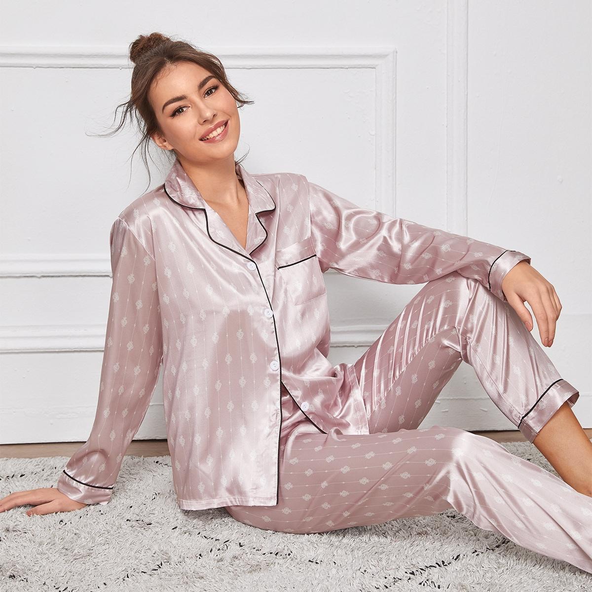 Атласная пижама с полосатым и цветочным принтом от SHEIN