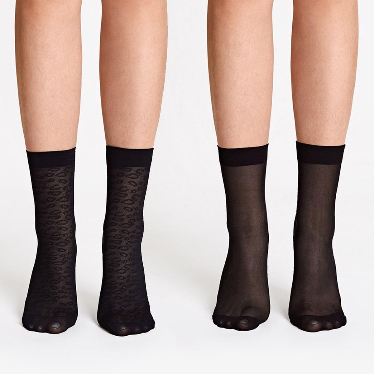 SHEIN / 2 Paar Leopardenmuster Mesh Socken