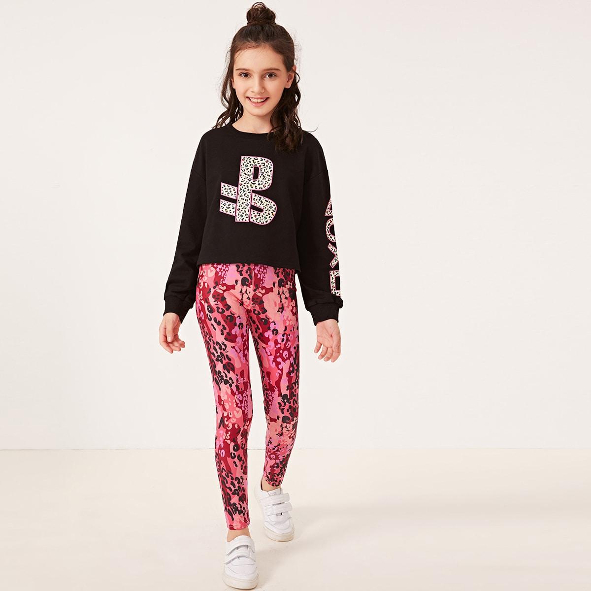 SHEIN / Mädchen Pullover mit Buchstaben Grafik und Leggings Set