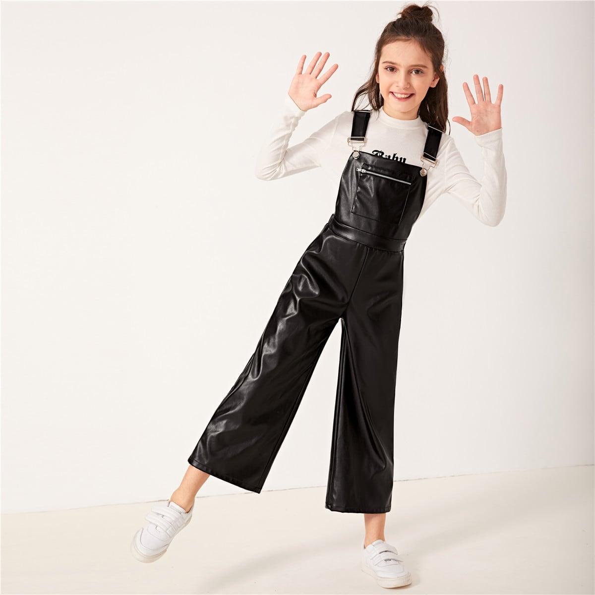 SHEIN / Mädchen Jumpsuit in Lederoptik mit Reißverschluss und Taschen vorn