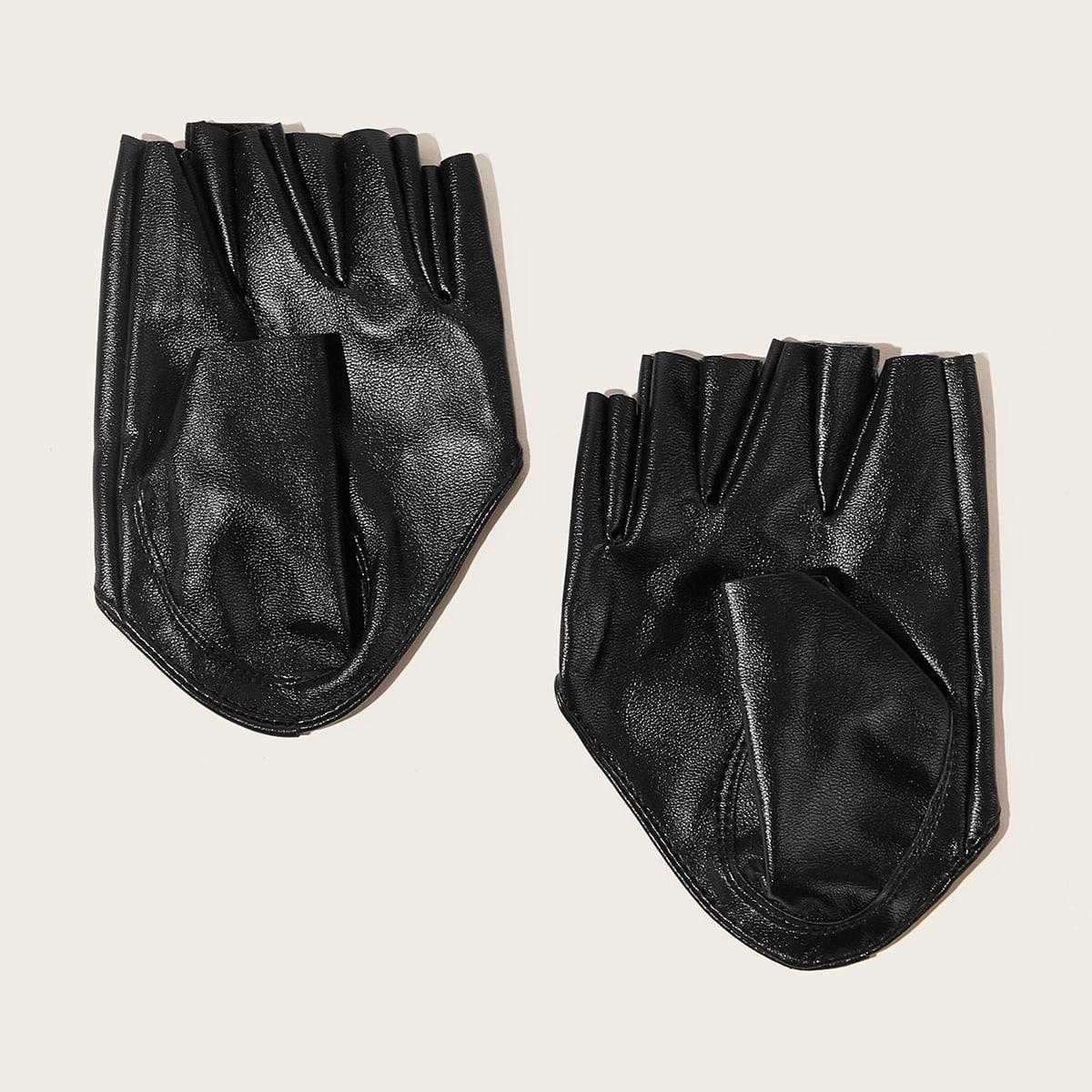Перчатки с открытыми пальцами из искусственной кожи от SHEIN