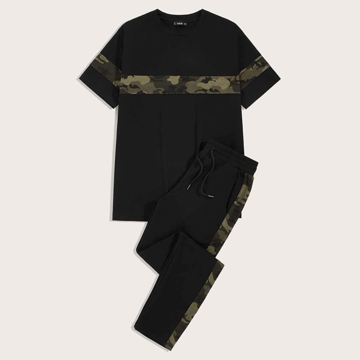Мужские спортивные брюки и контрастный камуфляжный топ от SHEIN
