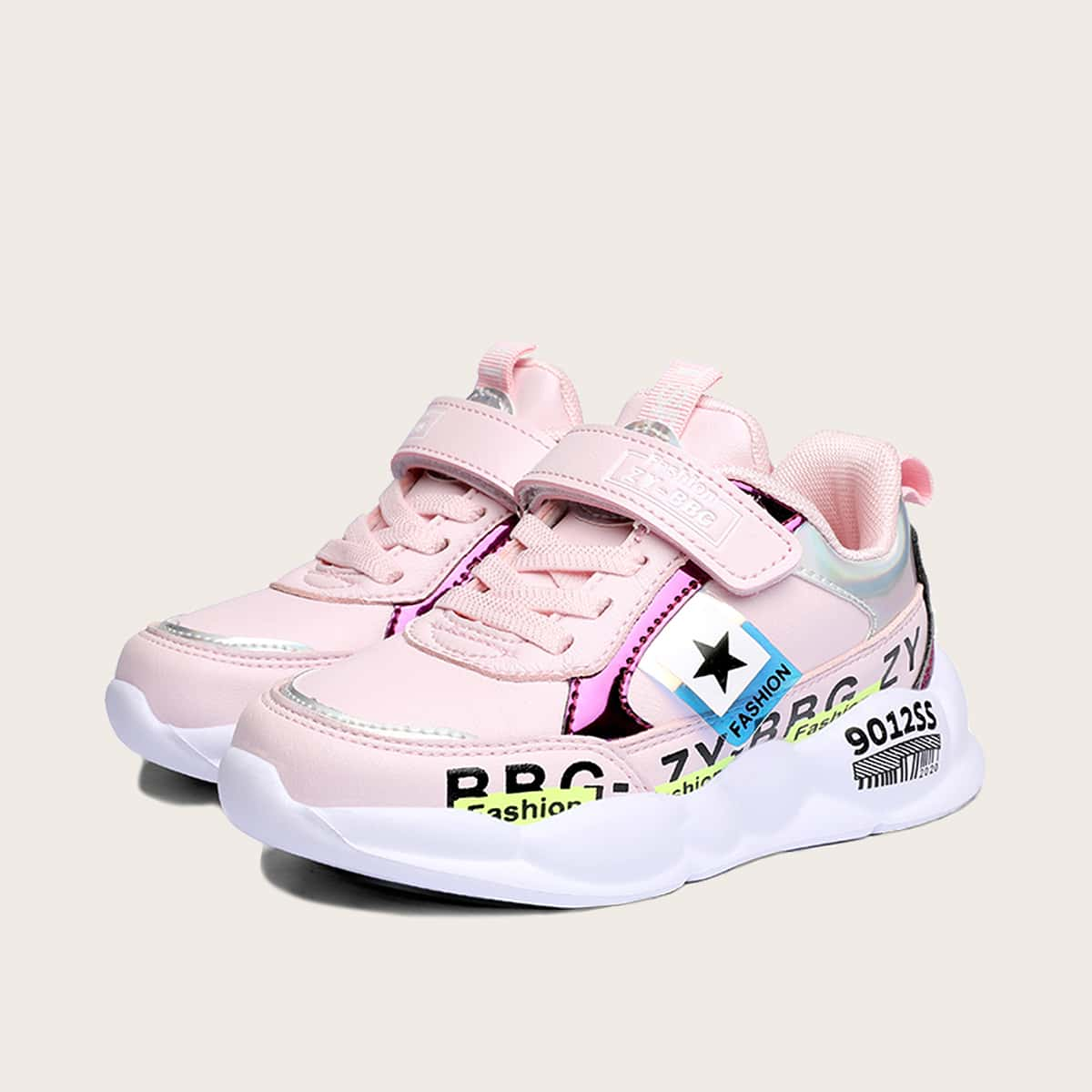 Roze  Comfortabel Tekst Kinder sneaker