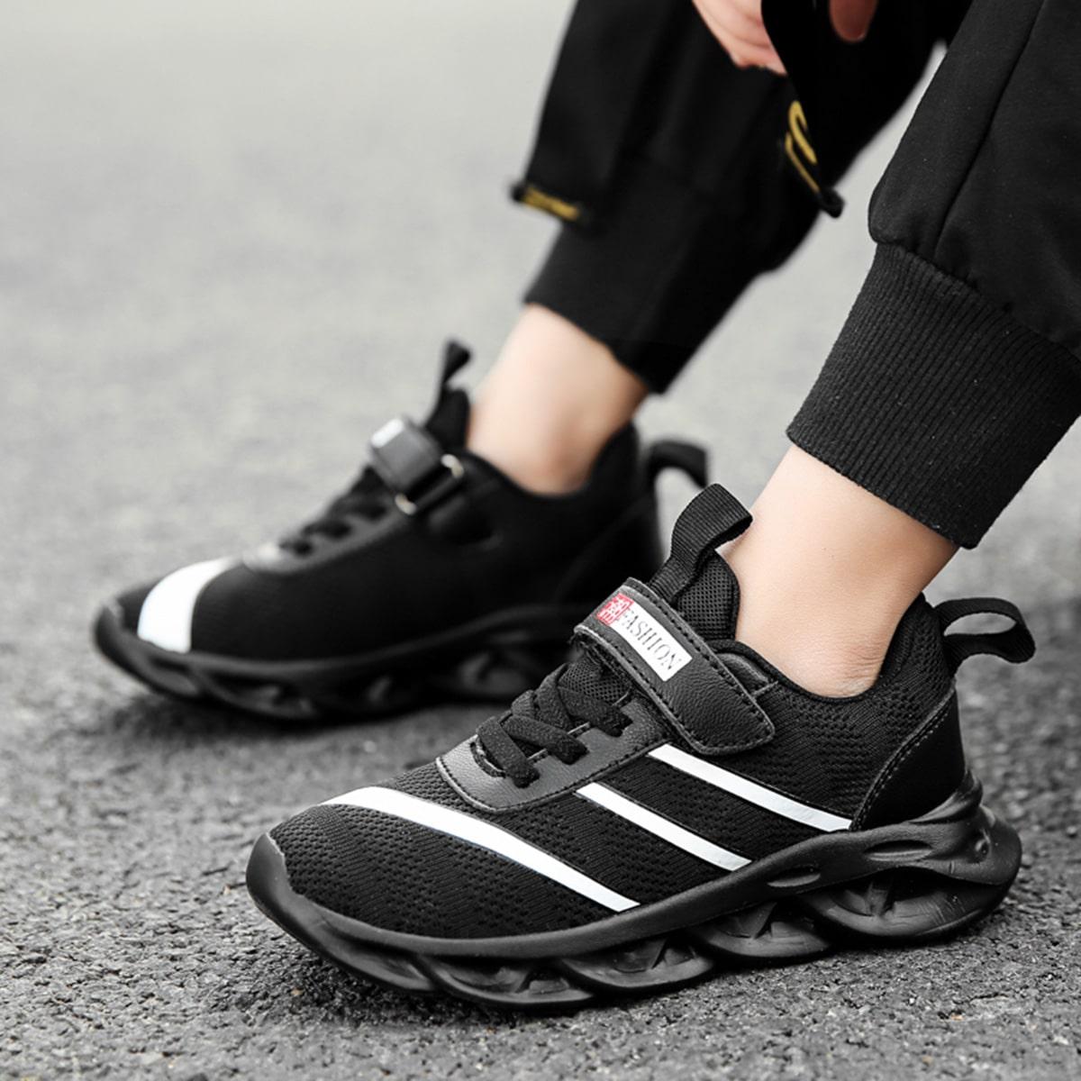 Zwart Comfortabel Gestreept Kinder sneaker