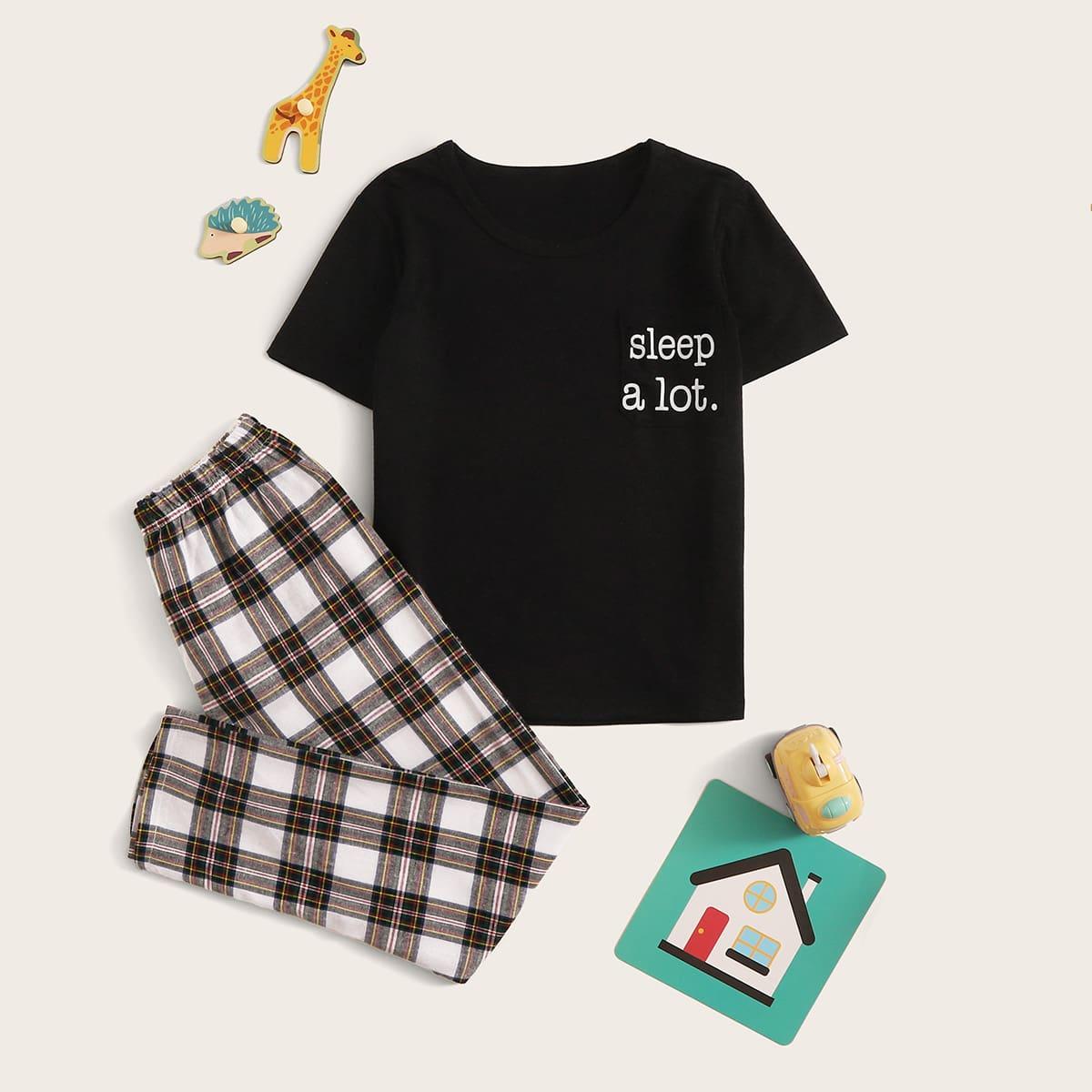 Пижама с текстовым принтом в клетку для мальчиков от SHEIN