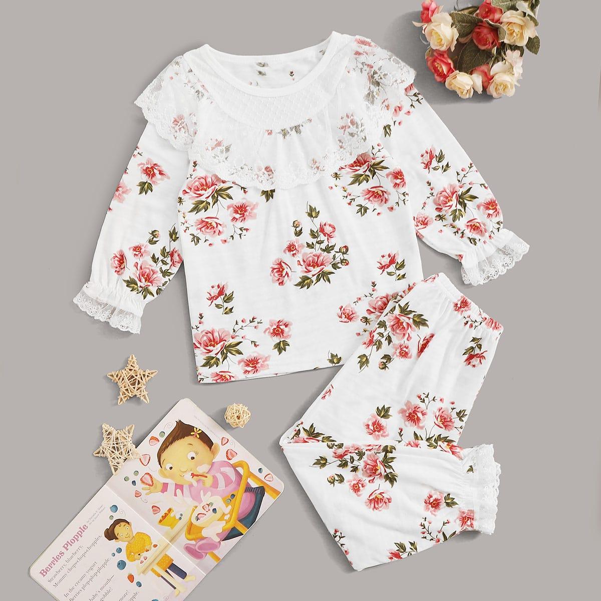 Пижама с кружевной отделкой и цветочным принтом для девочек от SHEIN