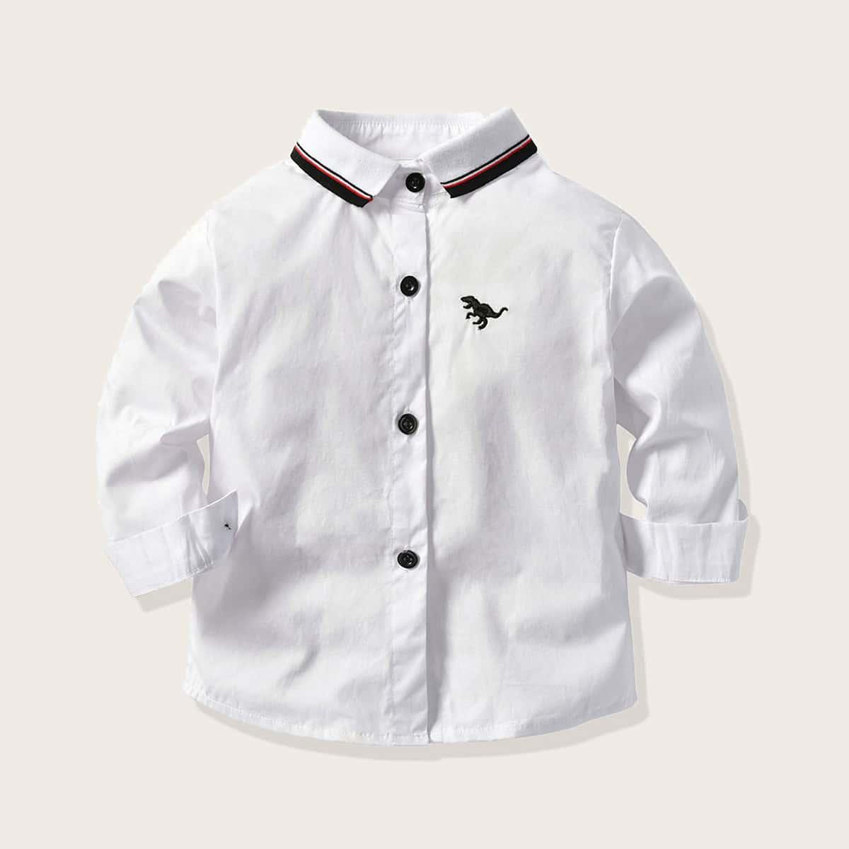 Рубашка с пуговицами и вышивкой динозавра для мальчиков от SHEIN
