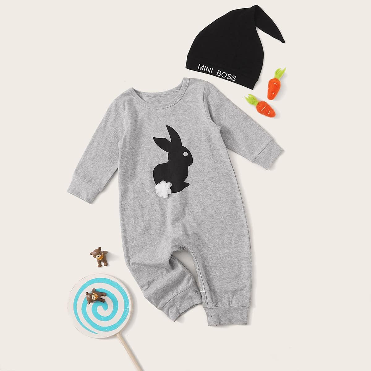 Шапка и комбинезон с цветком, кроликом 3D для мальчиков от SHEIN