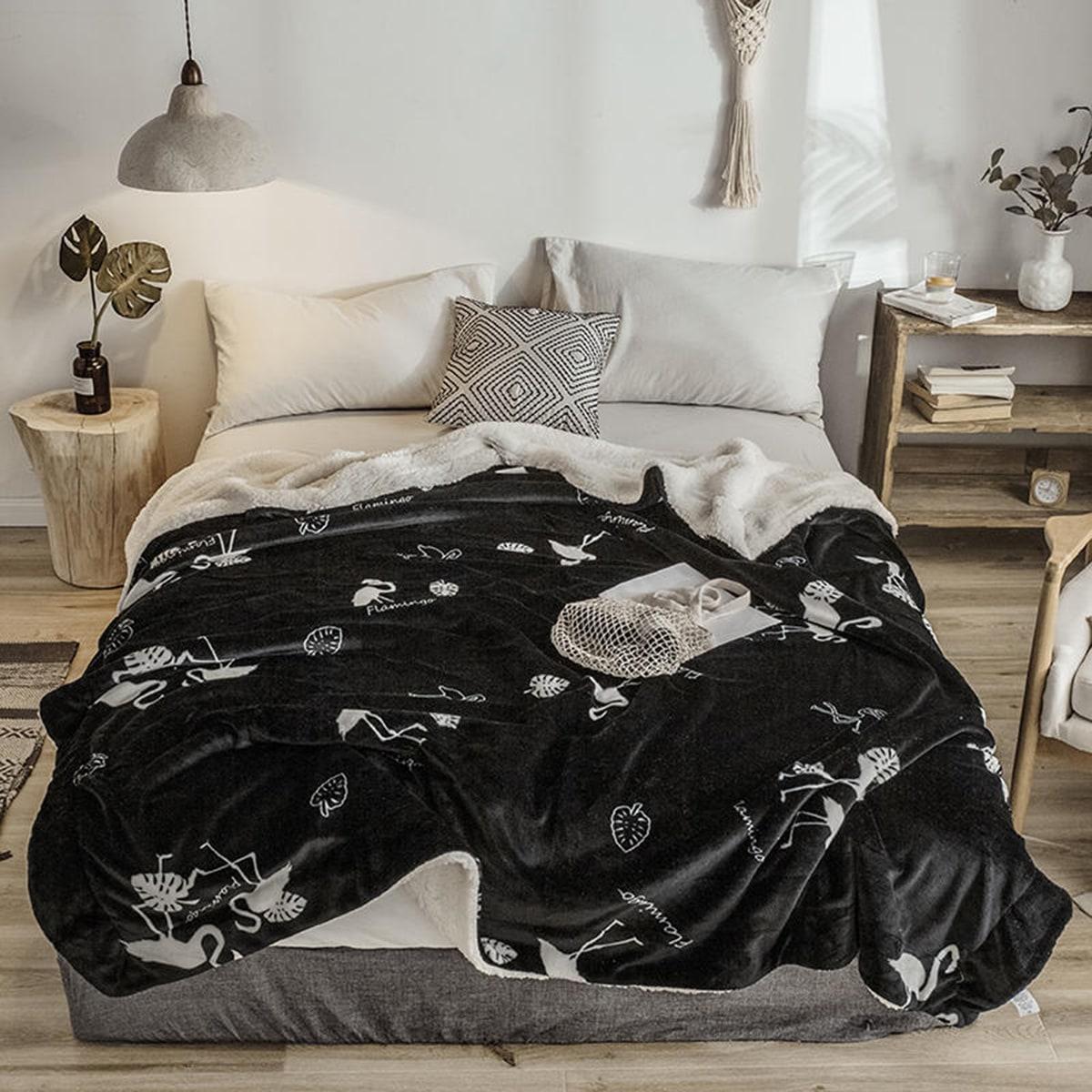 Tropische deken met blad- en flamingoprint