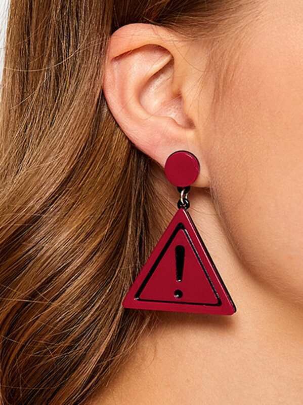 1pair Triangle Warning Sign Drop Earrings, Red