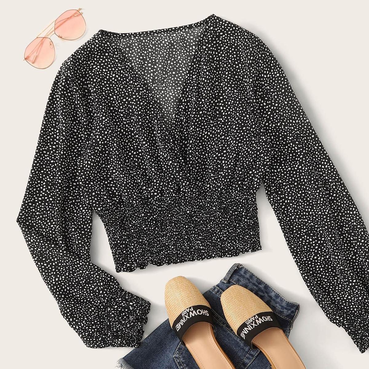 Блуза размера плюс с v-образным вырезом и далматинским принтом