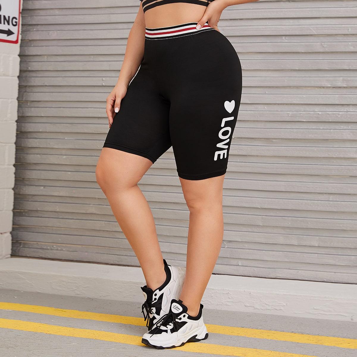 SHEIN / Shorts biker con estampado de letra y corazón - grande