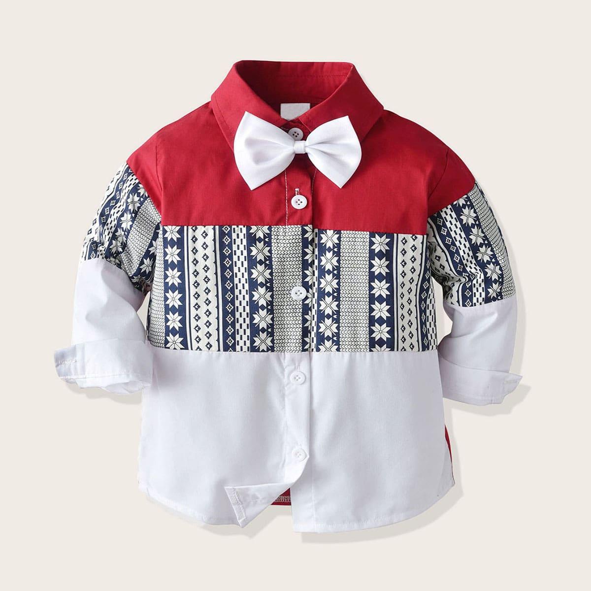 Контрастная рубашка с бантом и племенным принтом для мальчиков от SHEIN