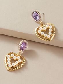 Rhinestone | Engrave | Earring | Pearl | Heart | Decor | Faux