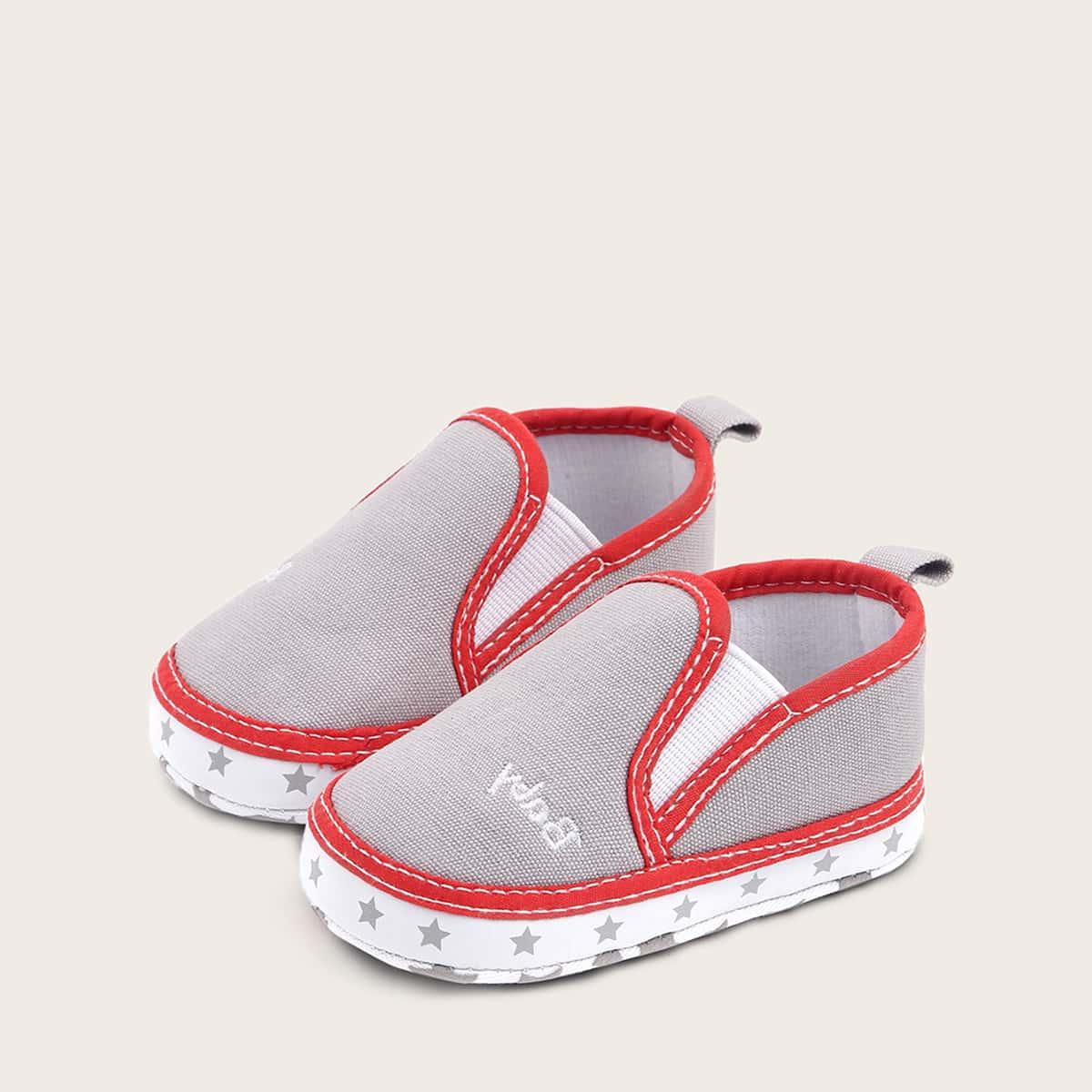 Grijs Comfortabel Tekst Baby platte schoentjes