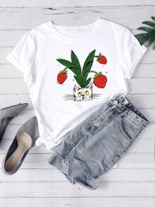 Strawberry | Print | Cat | Tee