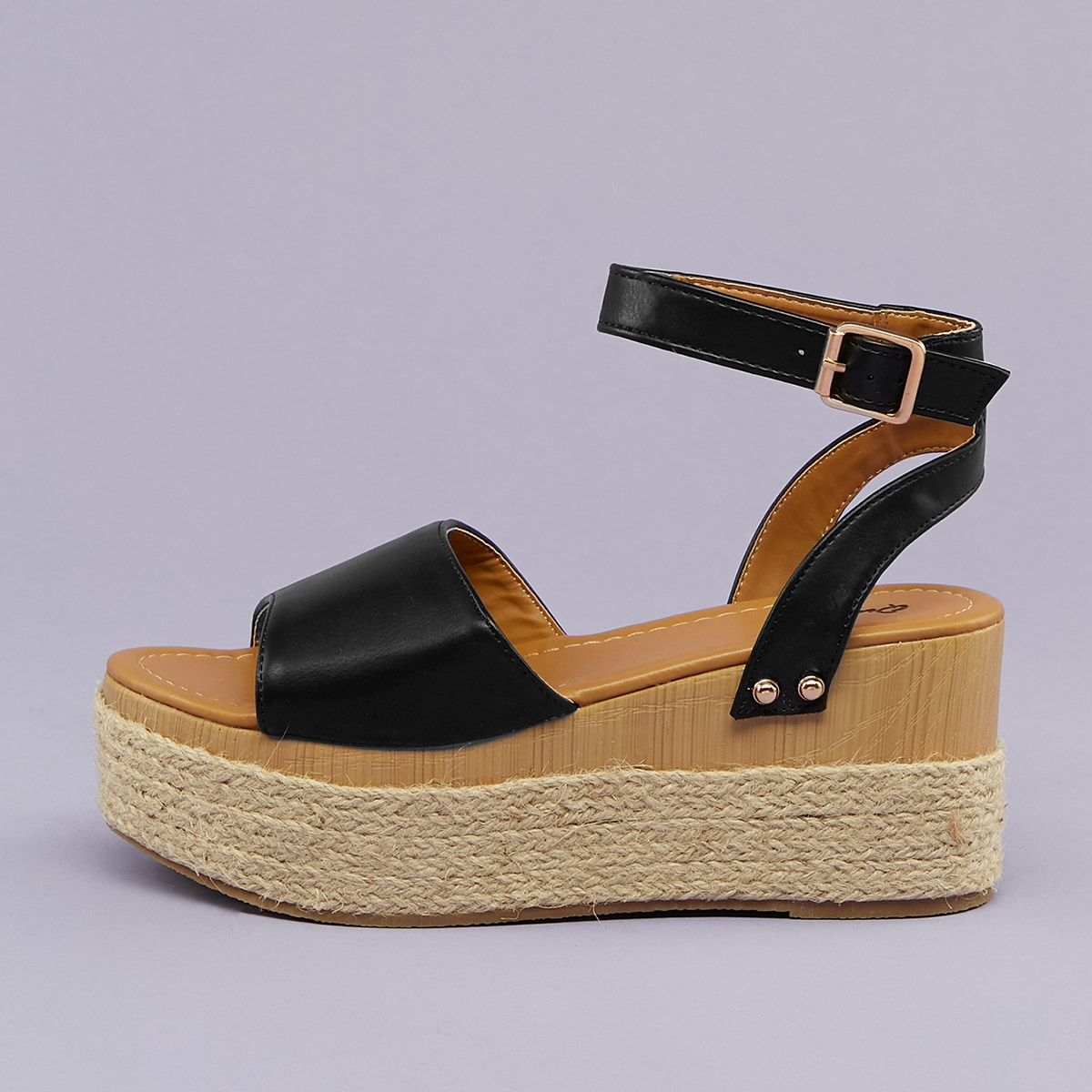 SHEIN / Open Toe Ankle Strap Espadrille Wedge Sandals