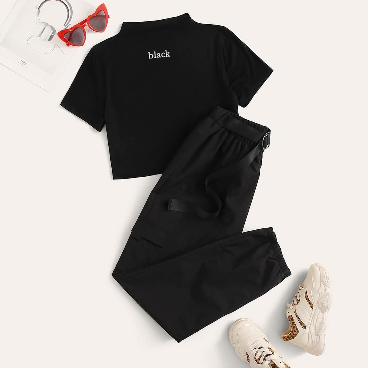 Брюки и футболка с текстовым принтом, воротником-стойкой от SHEIN