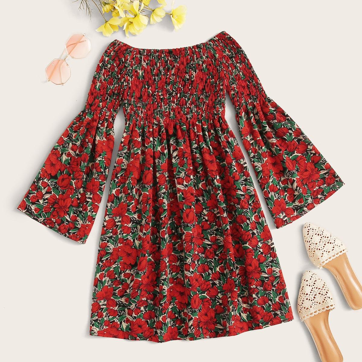 SHEIN / Bardot Shirred Flounce Sleeve Floral Dress