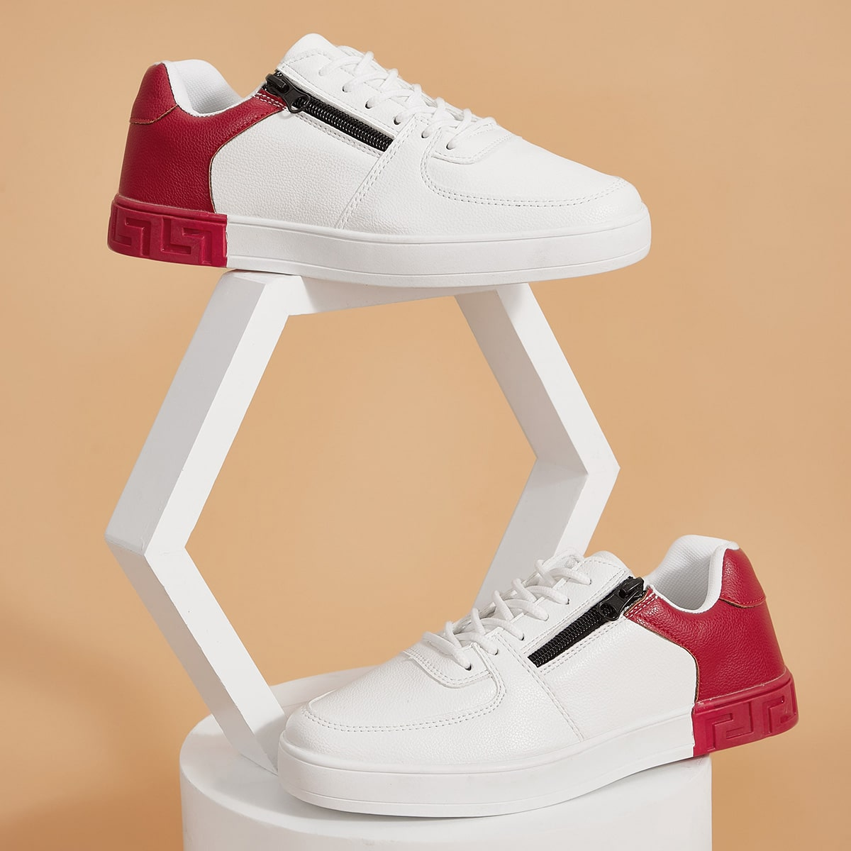 SHEIN / Men Two Tone Side Zip Lace-up Front Sneakers
