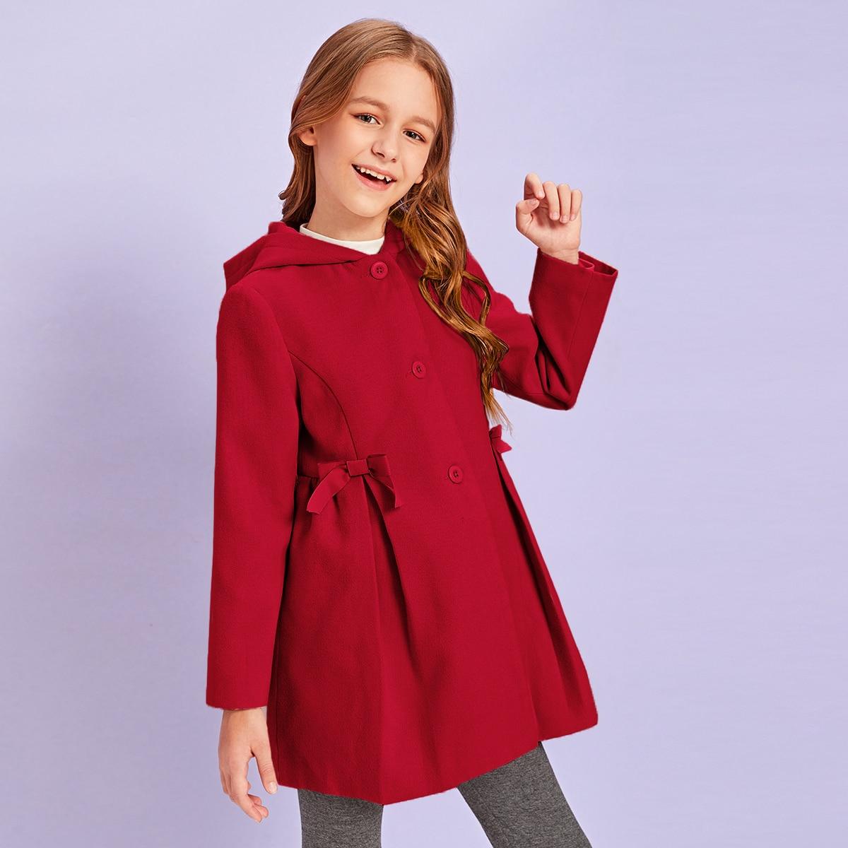 Однобортное пальто с капюшоном и бантом для девочек от SHEIN