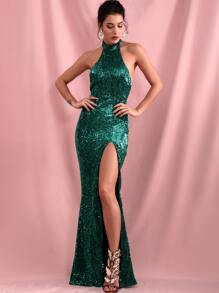 Halter | Sequin | Thigh | Dress | Prom