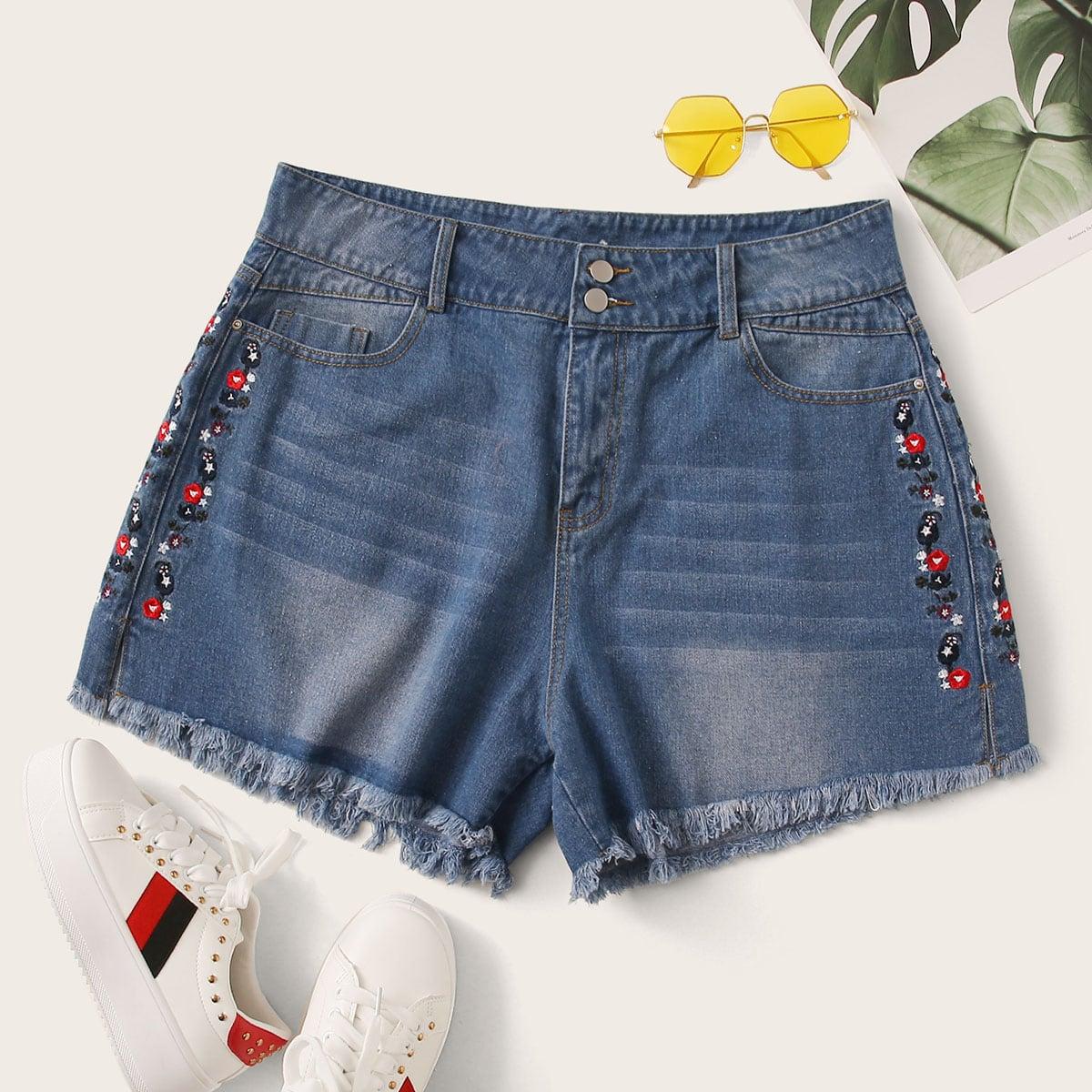 Blauw Casual Bloemen Grote maten denim shorts Borduurwerk
