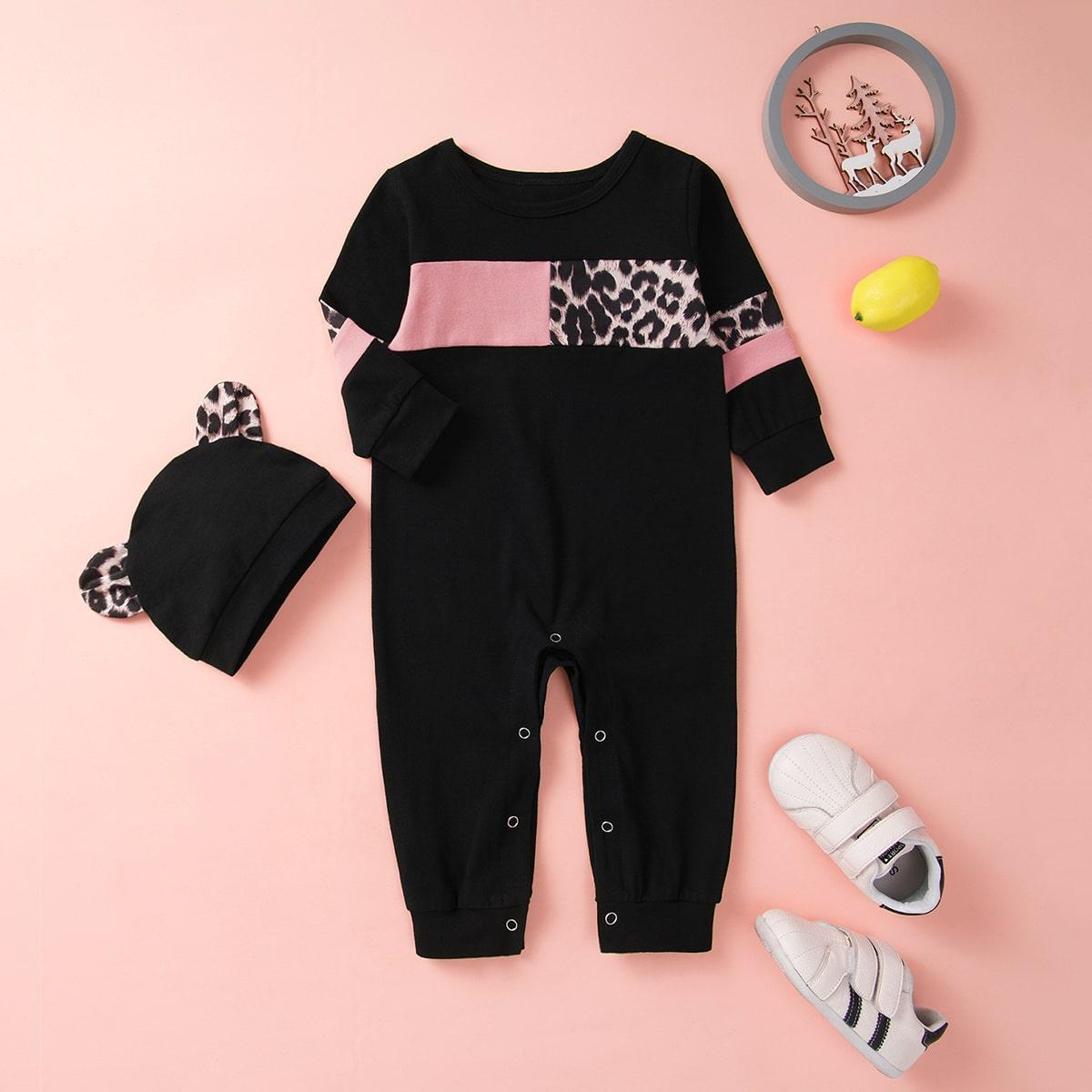 Шапка и контрастный леопардовый комбинезон-футболка для девочек от SHEIN