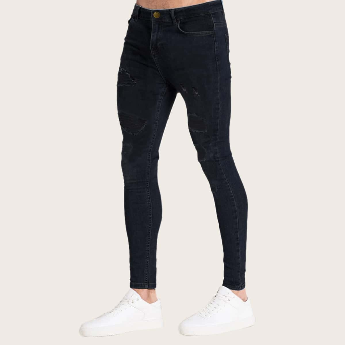 Zwart Casual Vlak Heren Jeans Gescheurd