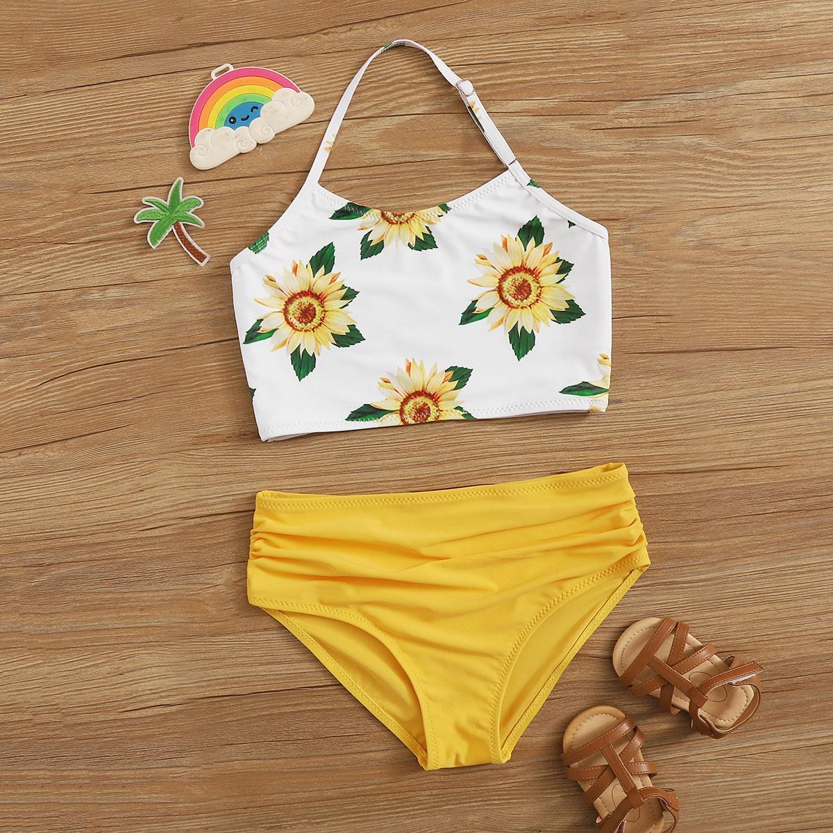 SHEIN / Bikini de niñas de cintura alta top halter con estampado de girasol