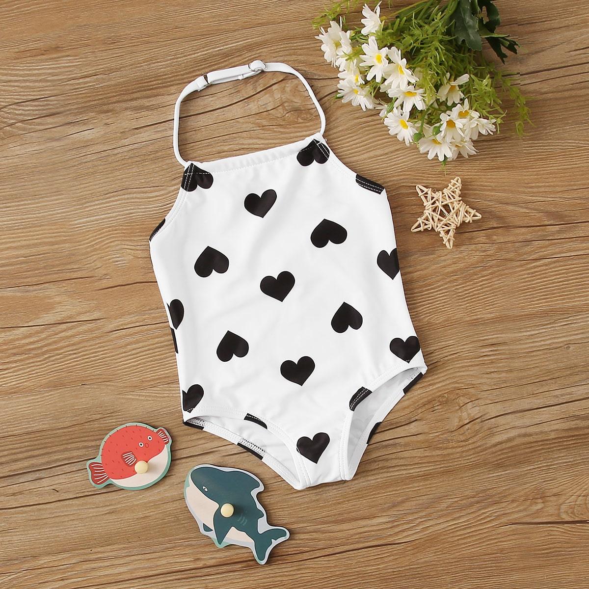 Baby Girl Heart Willekeurige print zwemkleding uit een stuk