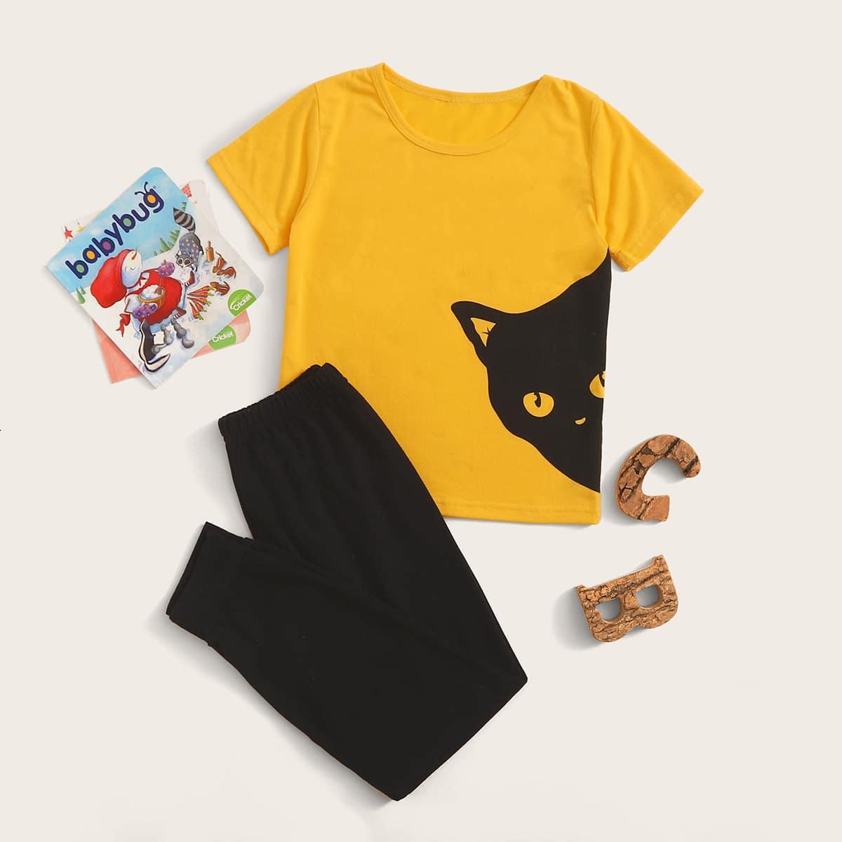 Джоггеры и футболка с принтом машины для мальчиков от SHEIN
