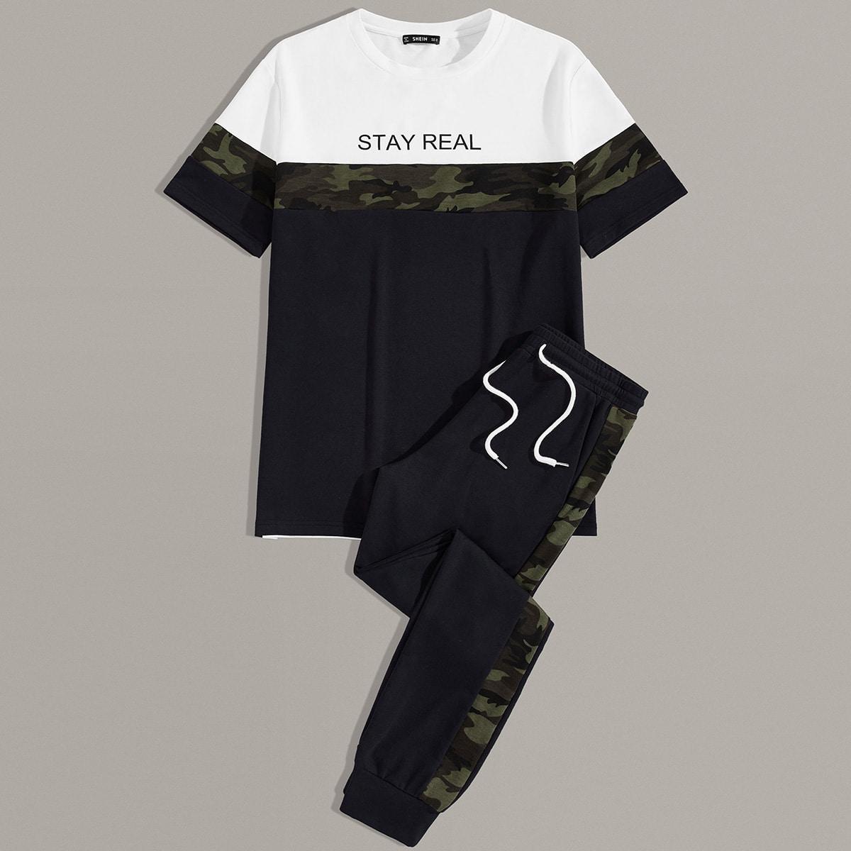 Мужские спортивные брюки и контрастная футболка с текстовым принтом от SHEIN