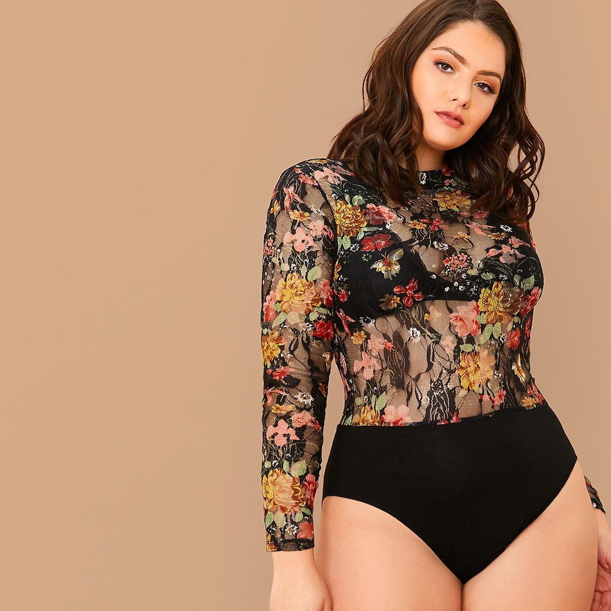 Veel kleurig Sexy Bloemen Bodysuits grote maten Zeeg