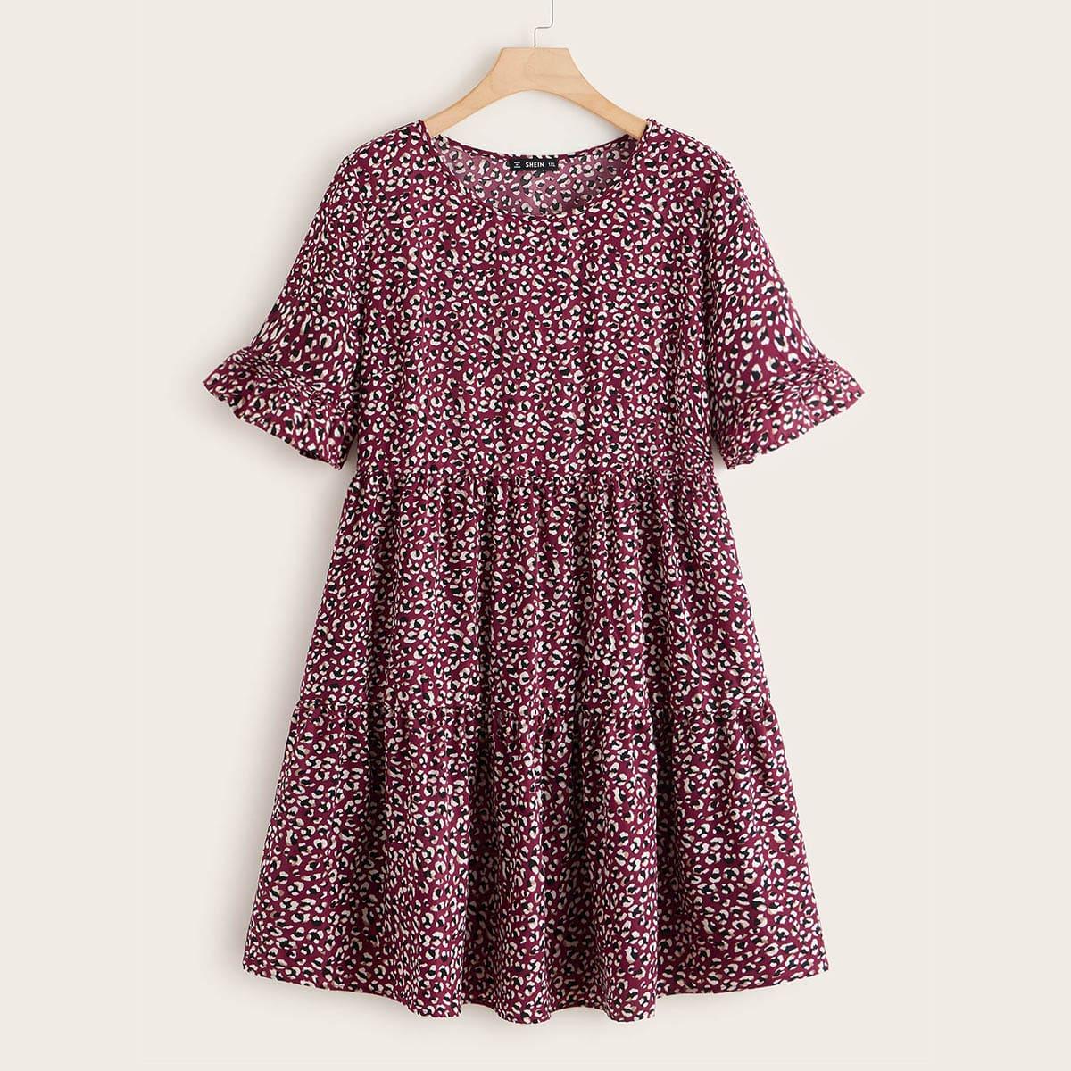Платье размера плюс с принтом и складкой