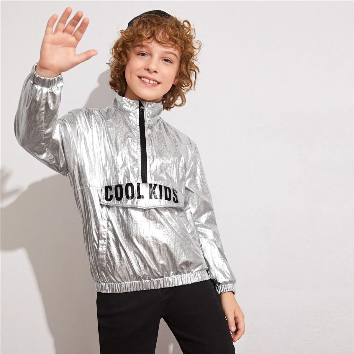 Куртка металлического цвета с текстовым принтом для мальчиков от SHEIN