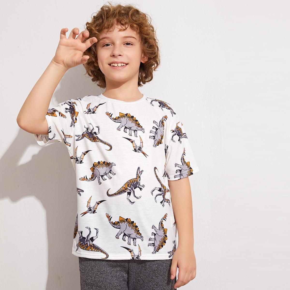 Футболка с принтом динозавра для мальчиков от SHEIN