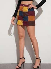 Button | Suede | Block | Color | Skirt