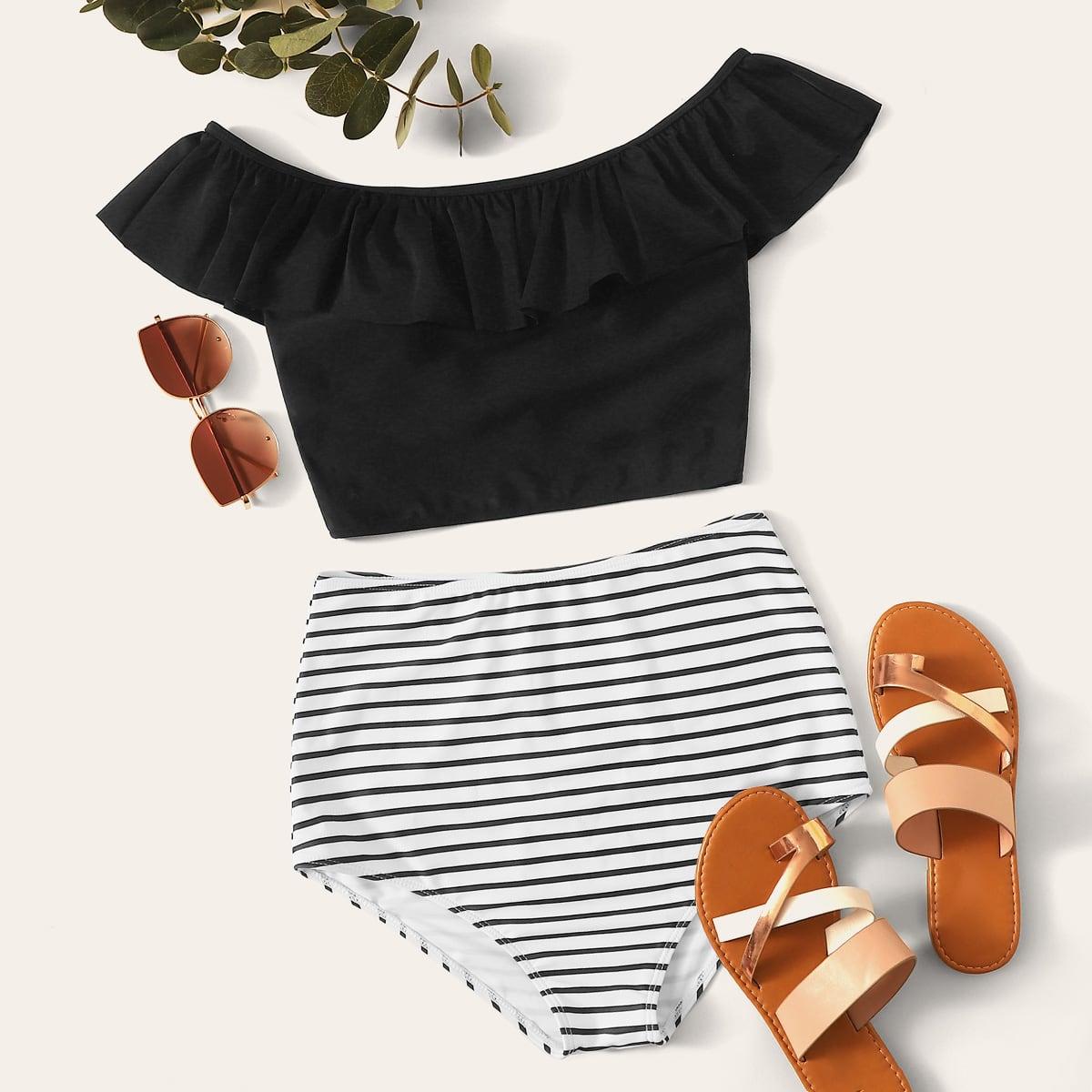 SHEIN / Striped Ruffle Trim High Waisted Bikini Swimsuit