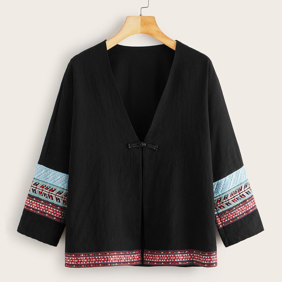 Zwart Boho Tribal kimono Borduurwerk
