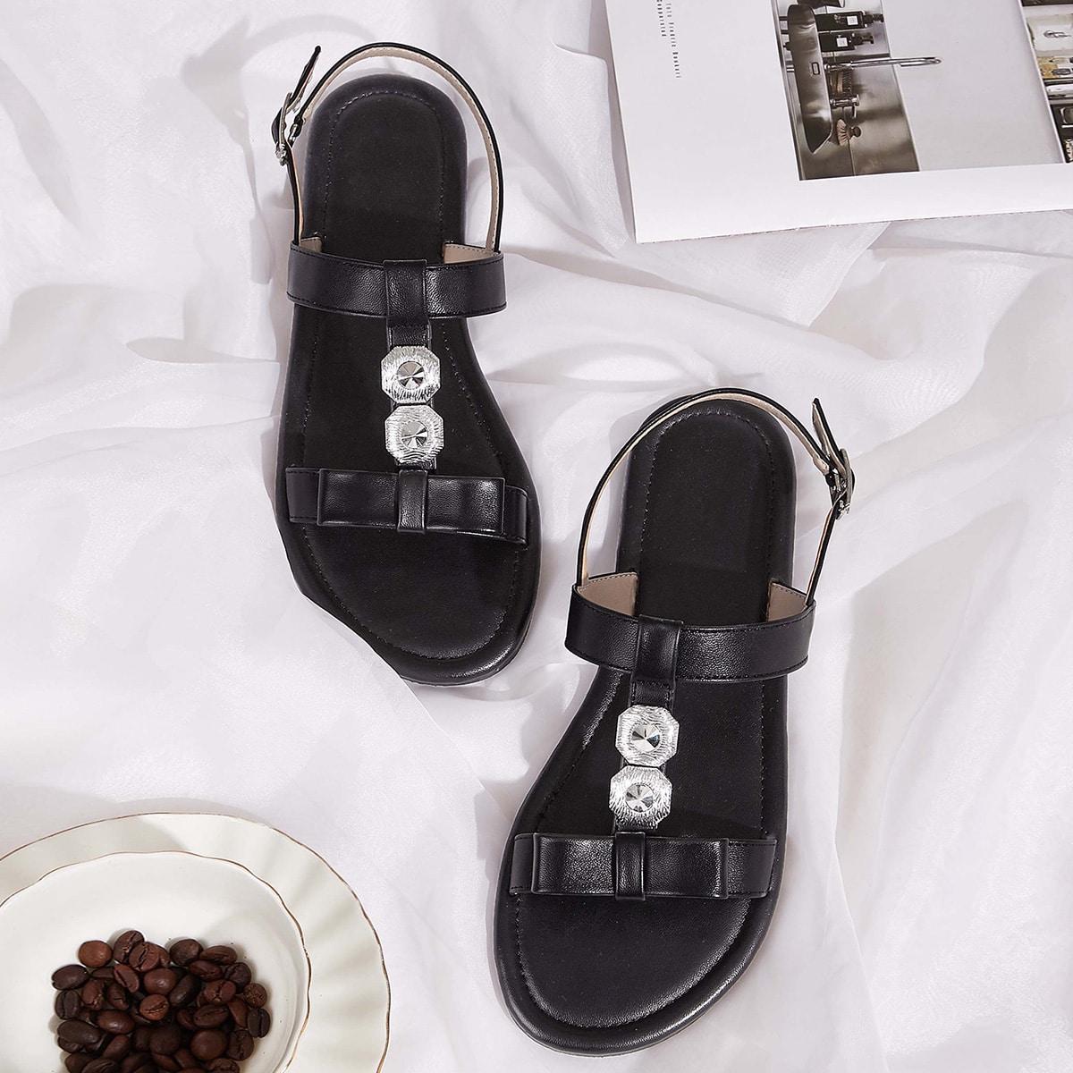 Zwart Comfortabel Vlak Sandalen