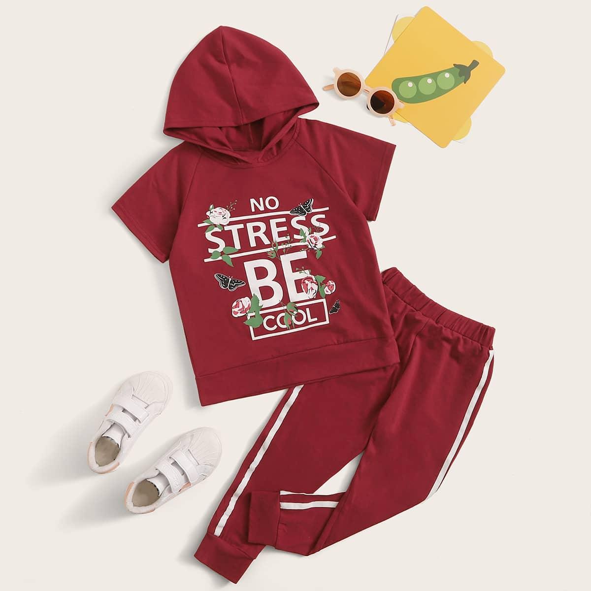 SHEIN / Toddler Girls Slogan Graphic Hoodie & Side Stripe Joggers