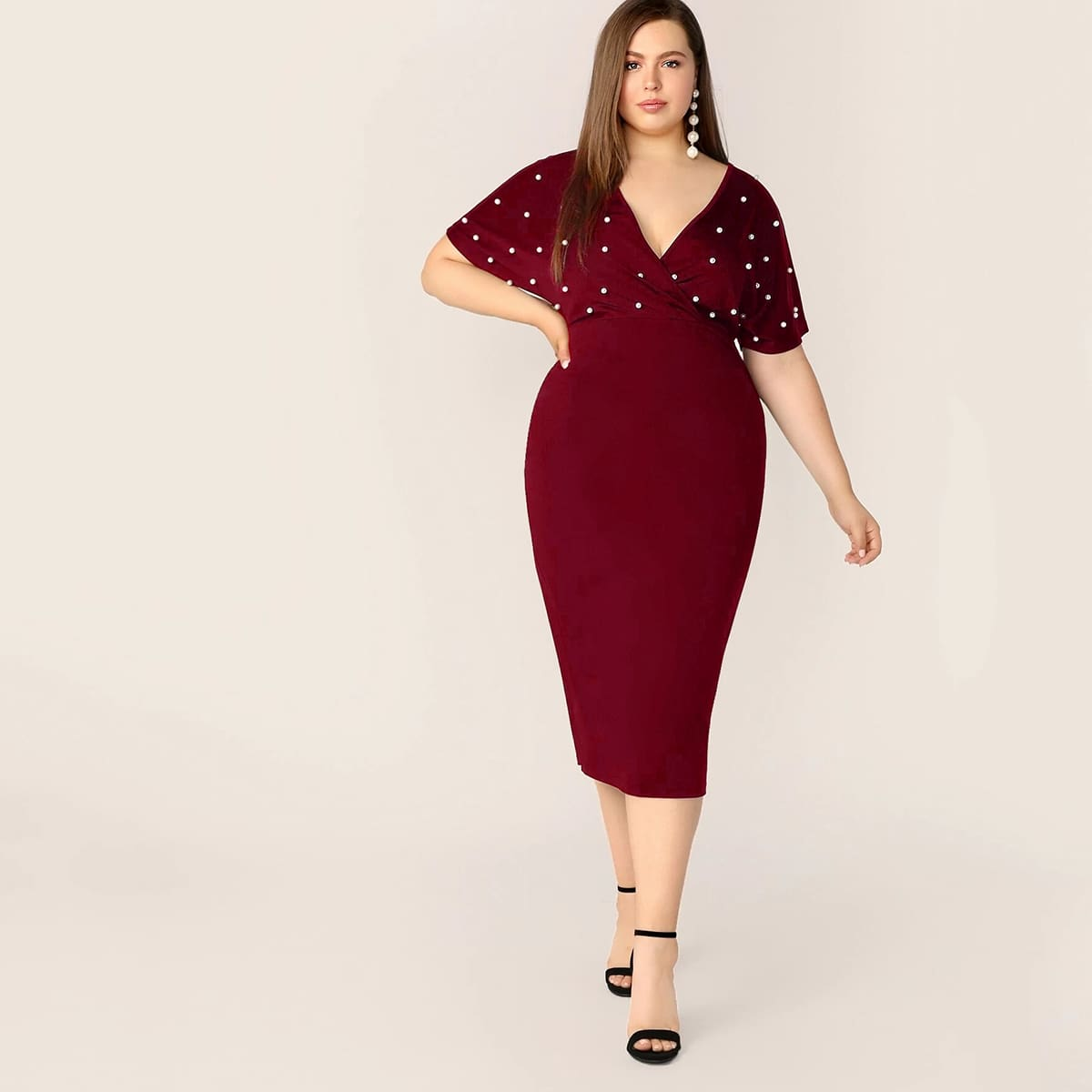 Bordeaux Elegant Vlak Grote maten jurken Kralen