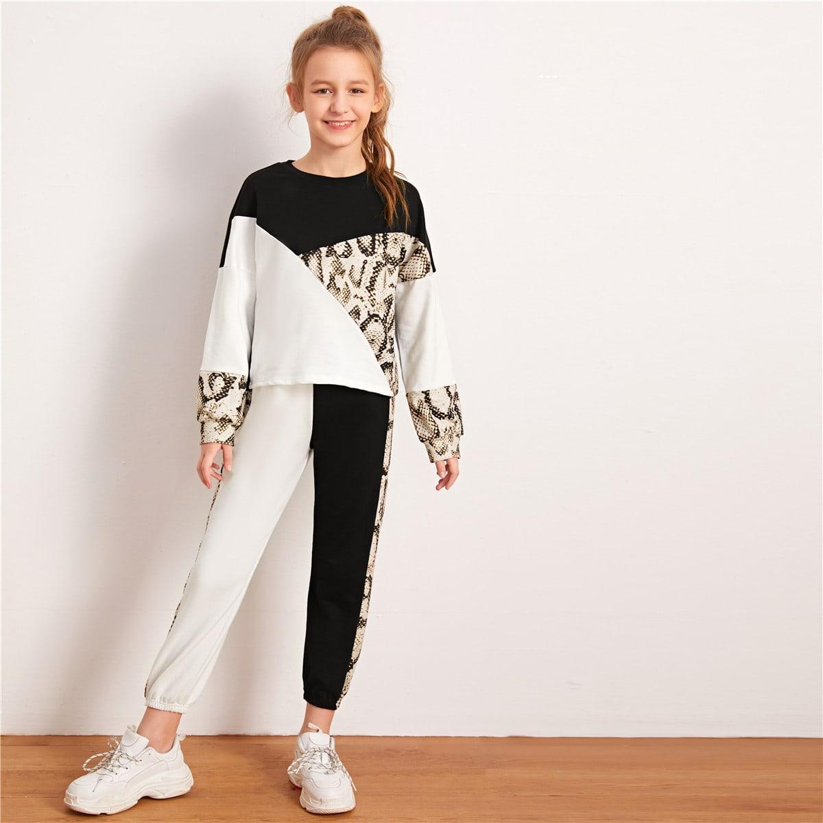 Контрастные джоггеры и пуловер с змеиным принтом для девочек от SHEIN