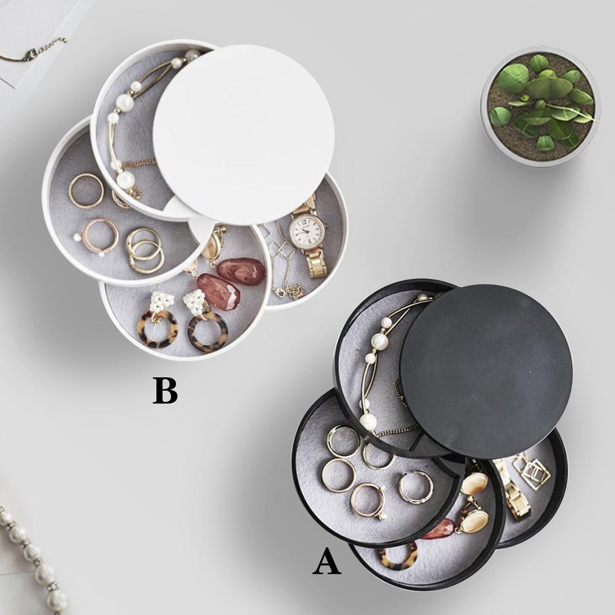 1pc 4 lagen ronde roterende sieraden opbergdoos